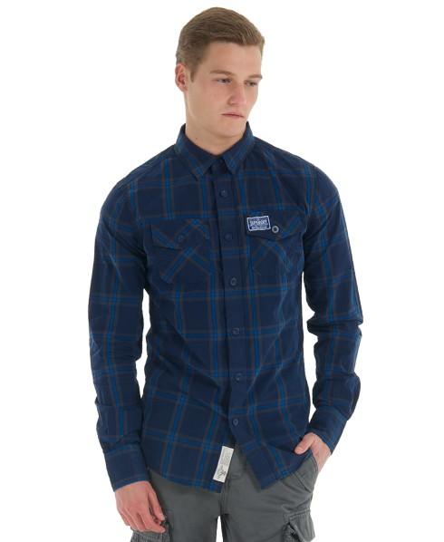 chemise superdry bleue